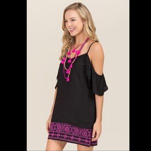Francesca's cold shoulder embroidered dress